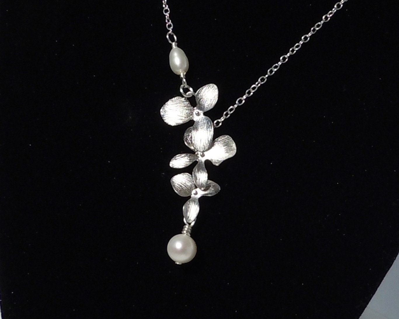 Freshwater Pearl and Cascading Matte Silver Orchid Necklace, Bridal, Elegant,