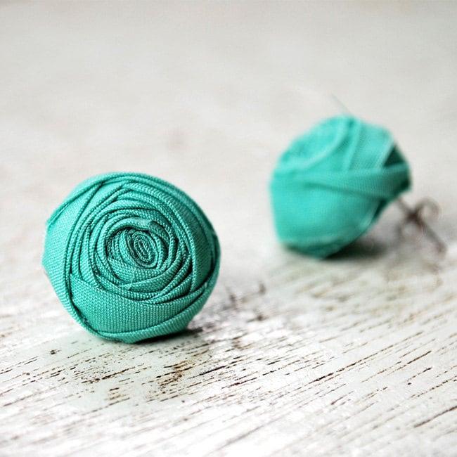 Turquoise Green Rosette Ear Studs