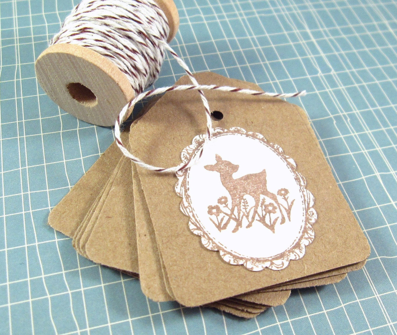 Sweetest Fawn...Set of 8 Kraft Tags With Spool of Bakers Twine