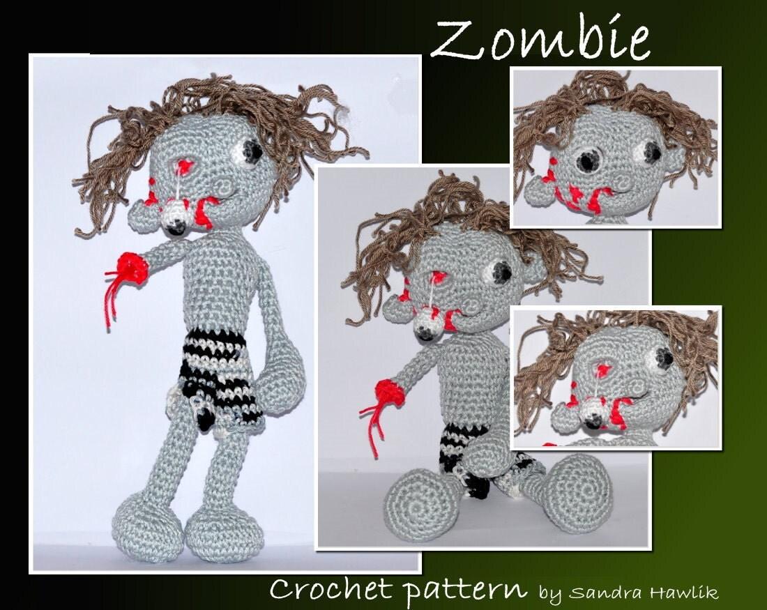 crochet pattern amigurumi zombie pdf by MOTLEYCROCHETCREW