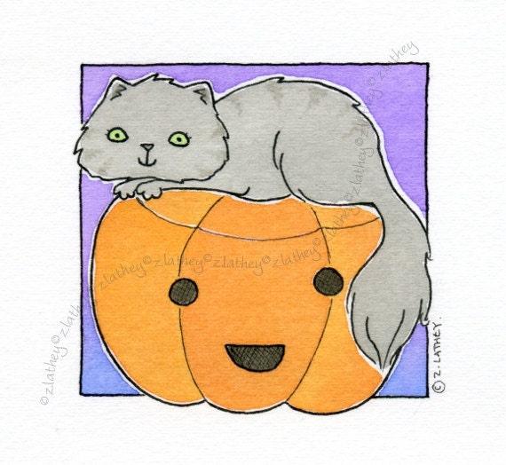 Pumpkin Head Kitty Cat - Original Watercolour