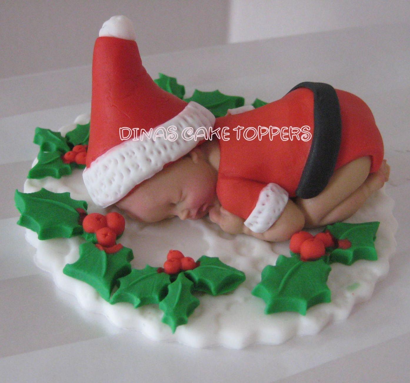 ... Christmas present Baby Cake Topper Wreath Baby Shower 1st Birthday