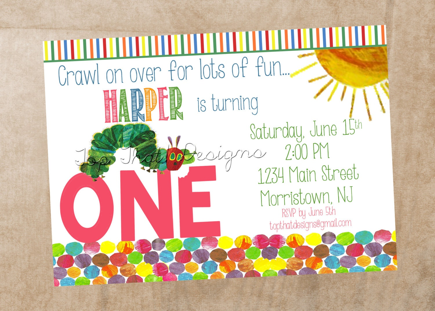 Very hungry caterpillar invitations - Lookup BeforeBuying