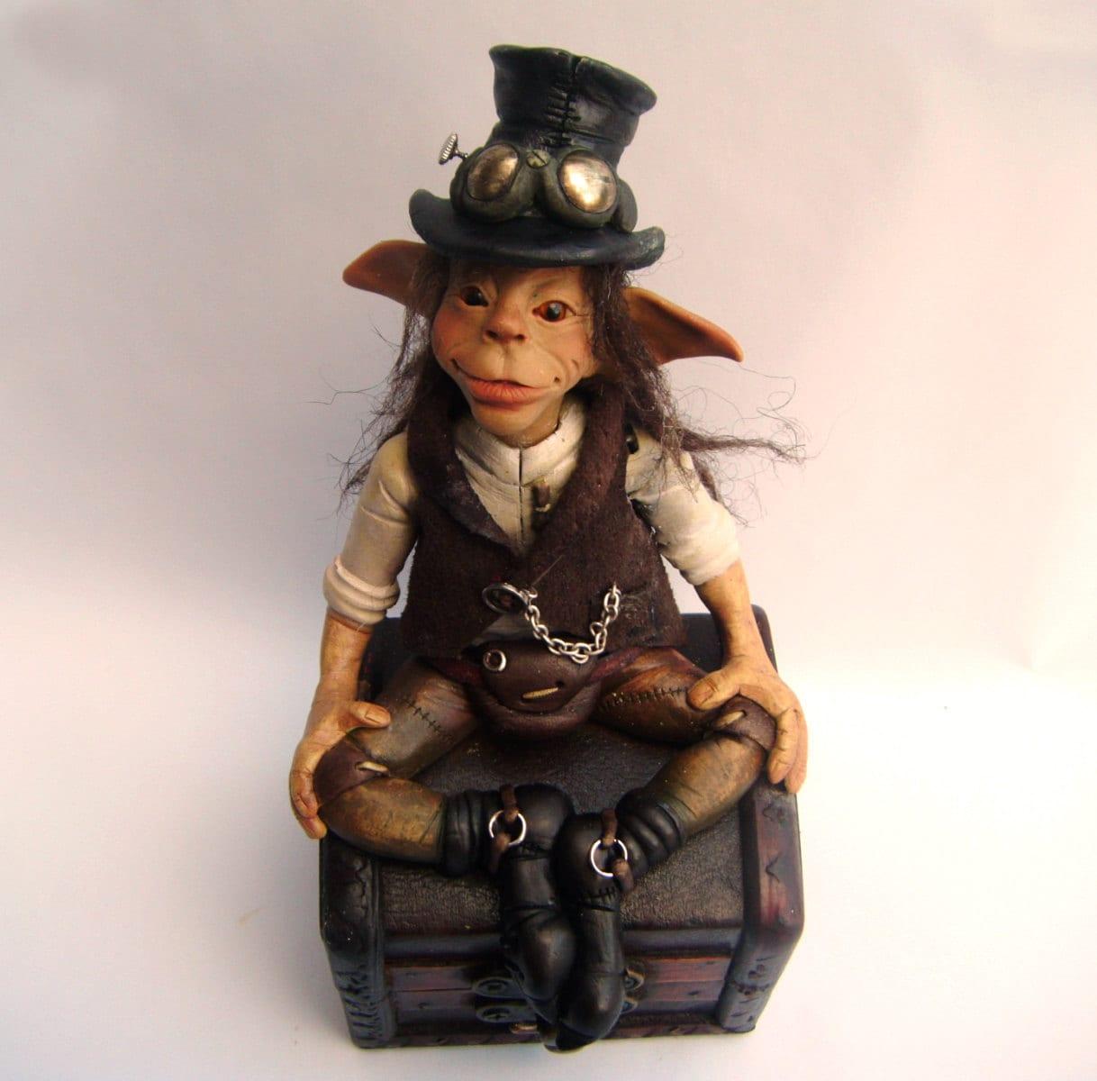 Handmade OOAK faerie elvin character Steampunk Pete