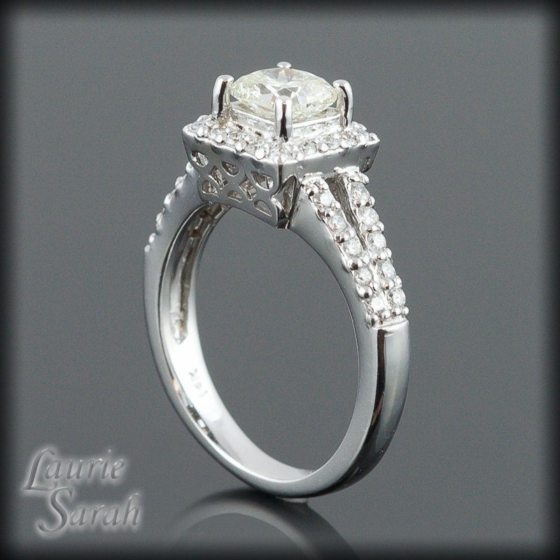Square Cushion Cut Diamond Engagement Ring by LaurieSarahDesigns