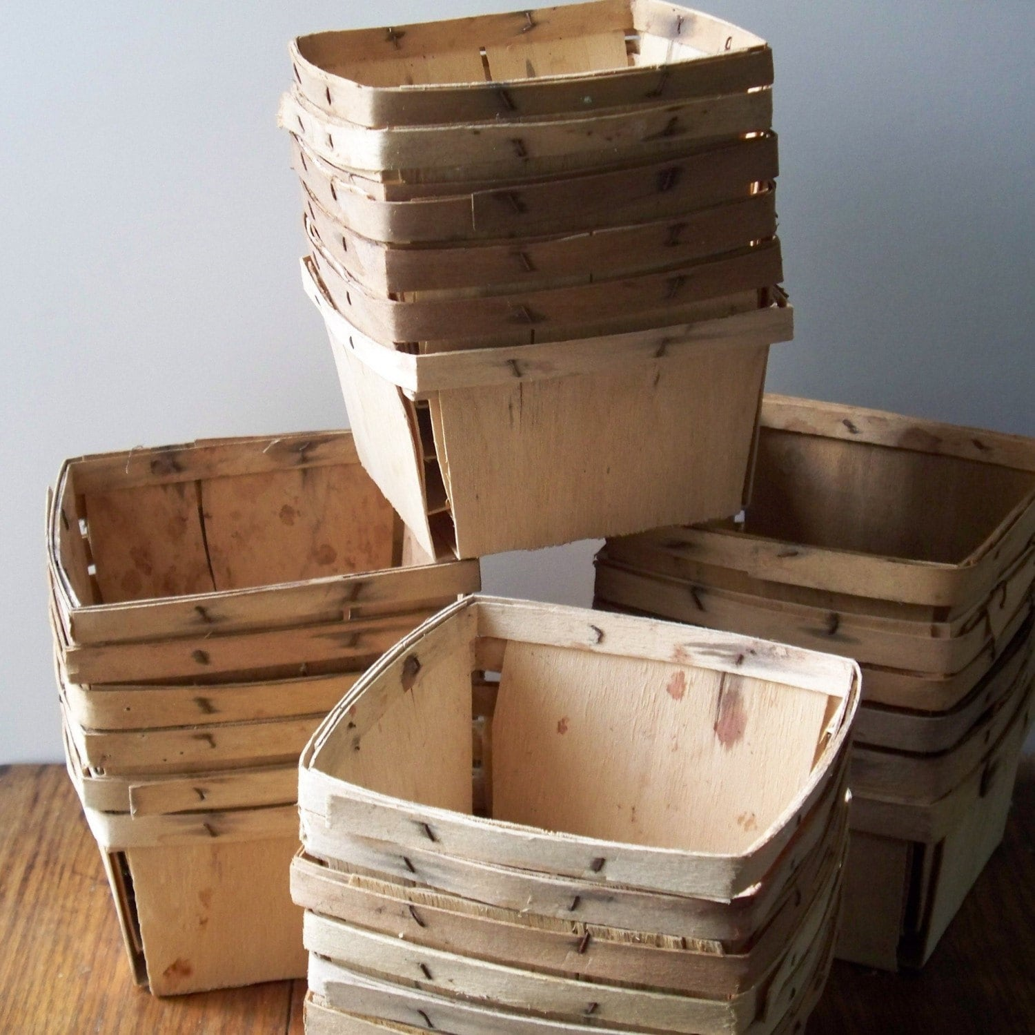 Half Dozen Vintage Wood Berry Baskets