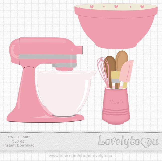 Kitchen Baking clip art set mixer  utensils and bowl  digital PNG clip    Baking Bowl Clipart