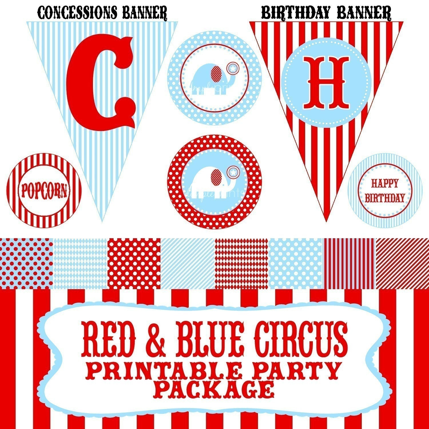 Red and Blue Circus.Carnival...Printable Party Package by DimplePrints