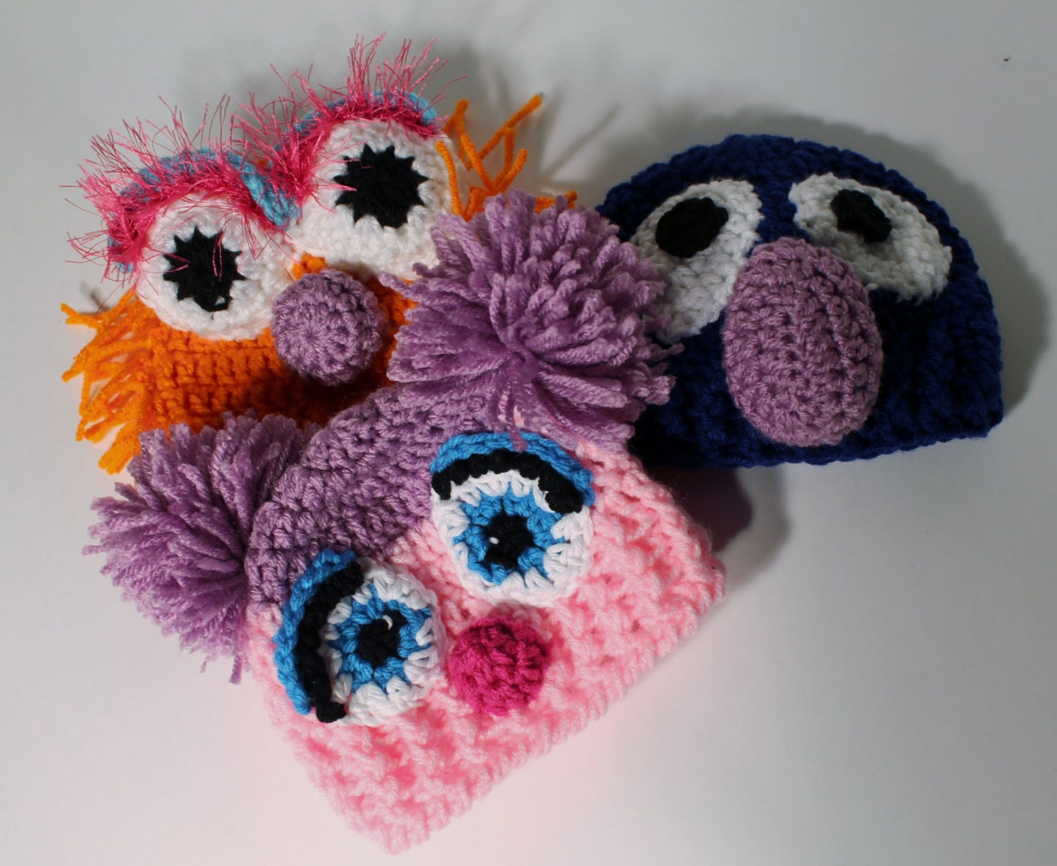 Sesame Street Baby Hats Photography Props Costume Zoe, Grover and Abby Cadabby - sunshineknitandsew