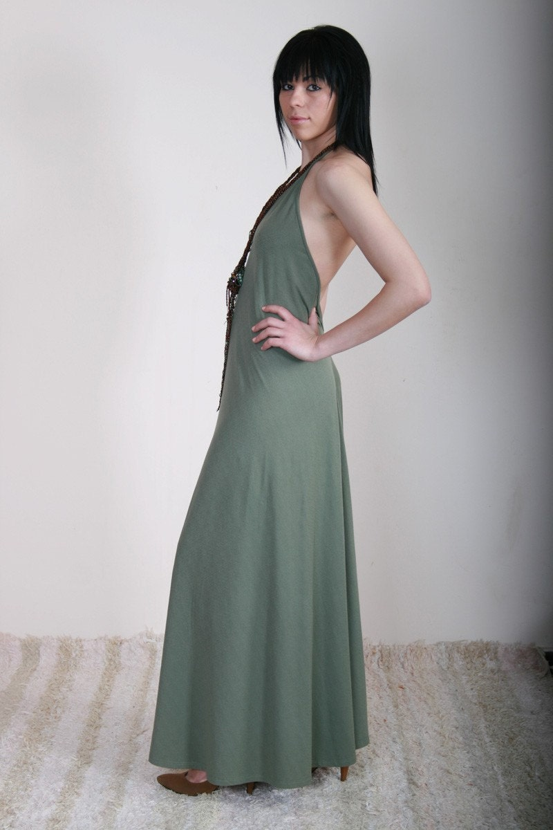DONA Elegant long dress with straps arround the neck