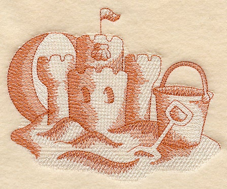 Sandcastle Beach Scene Embroidered Flour Sack Hand/Dish Towel - EmbroideryEverywhere