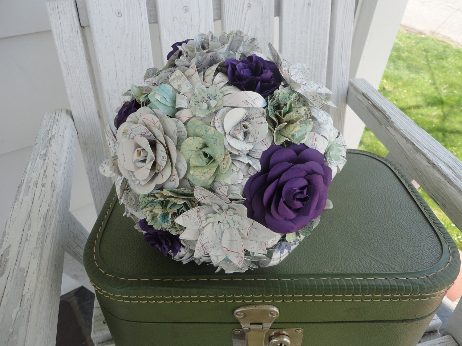 Eco Friendly Paper Flower Bouquet Maps Purple Rose by PoshStudios