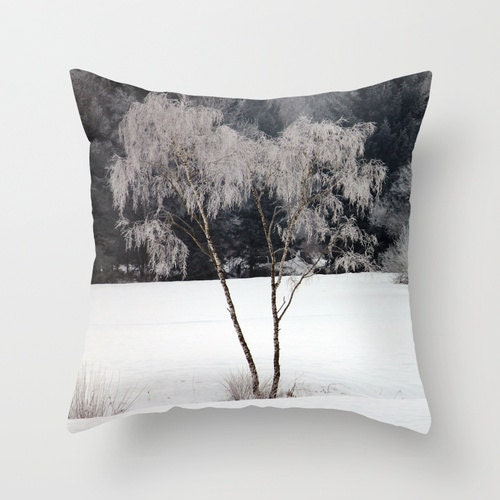 Frozen Birch Trees, Pillow Cover,16x16,18x18,20x20,home decoration,winter decor,interior design,muted colors, trees,winter,nature,snow storm - BacktoBasicsPillows