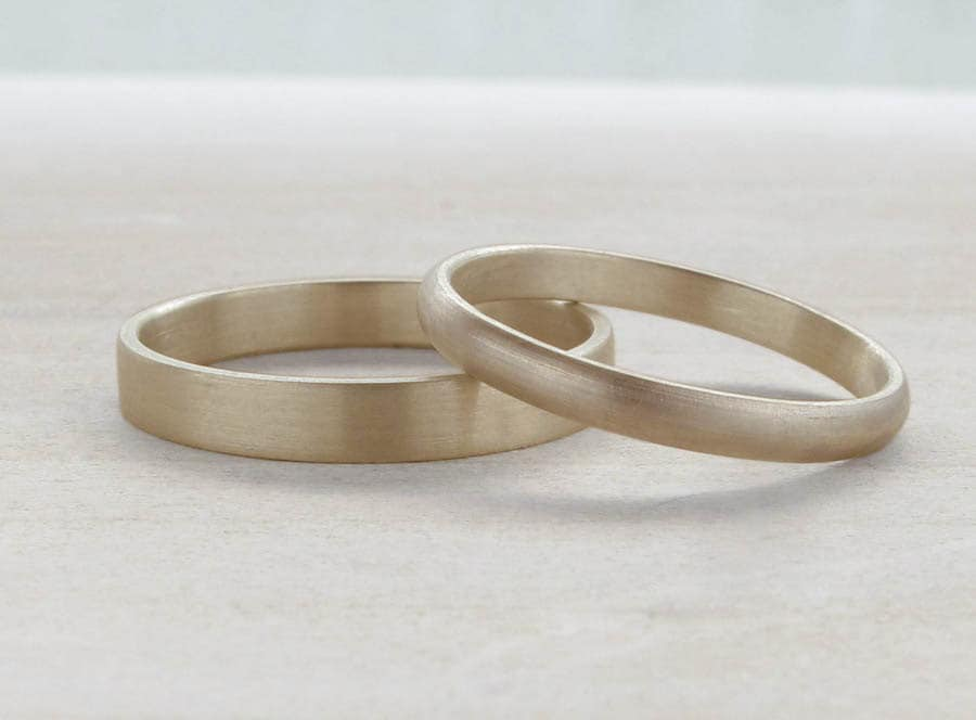 Hers And Hers Wedding Band Set Bespoke Recycled By AideMemoire