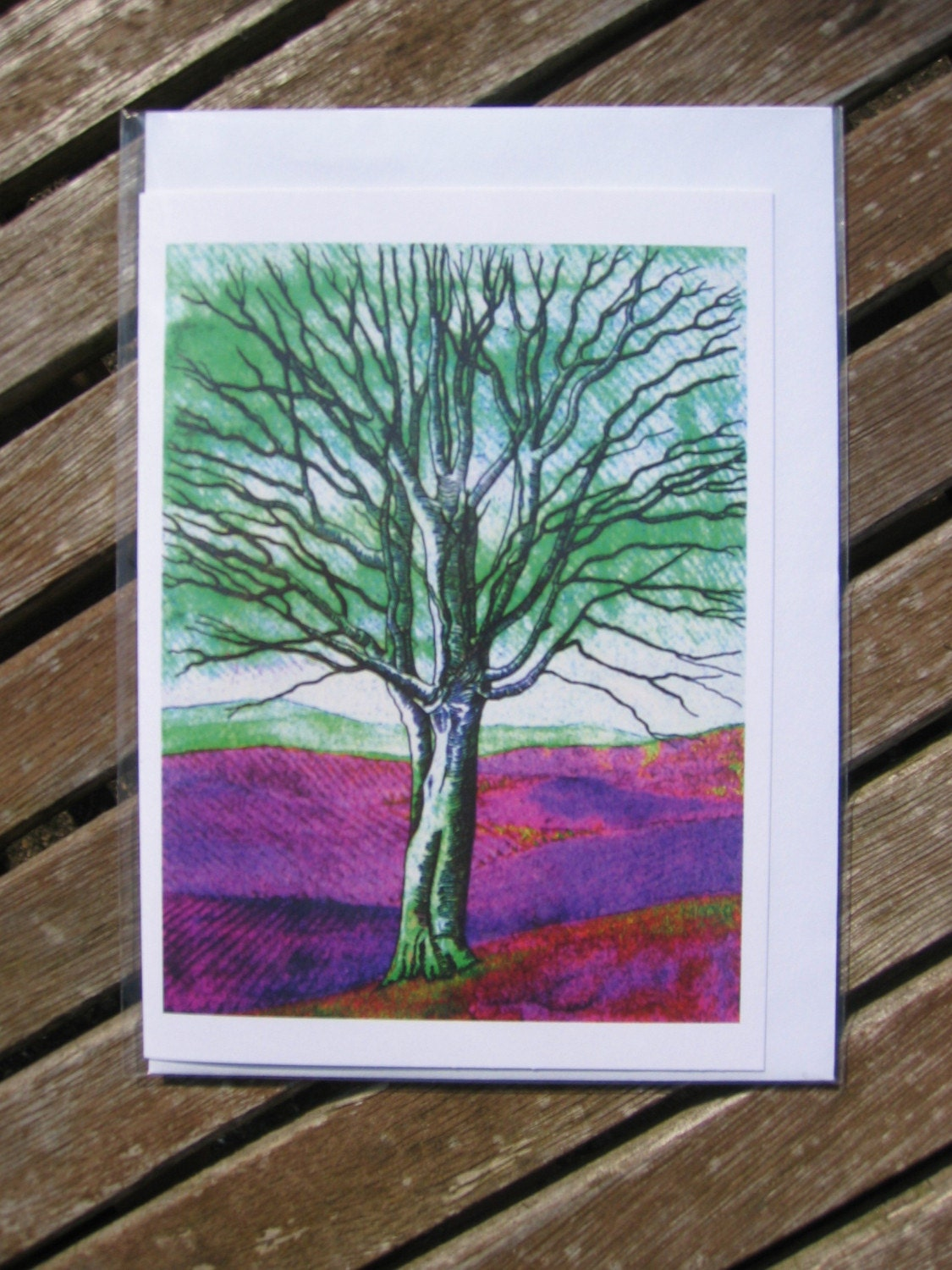 Greeting Card - Ghost Tree (green/purple)