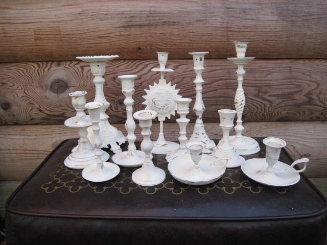 Wedding Centerpiece Brass Candle Holders Painted Creamy White