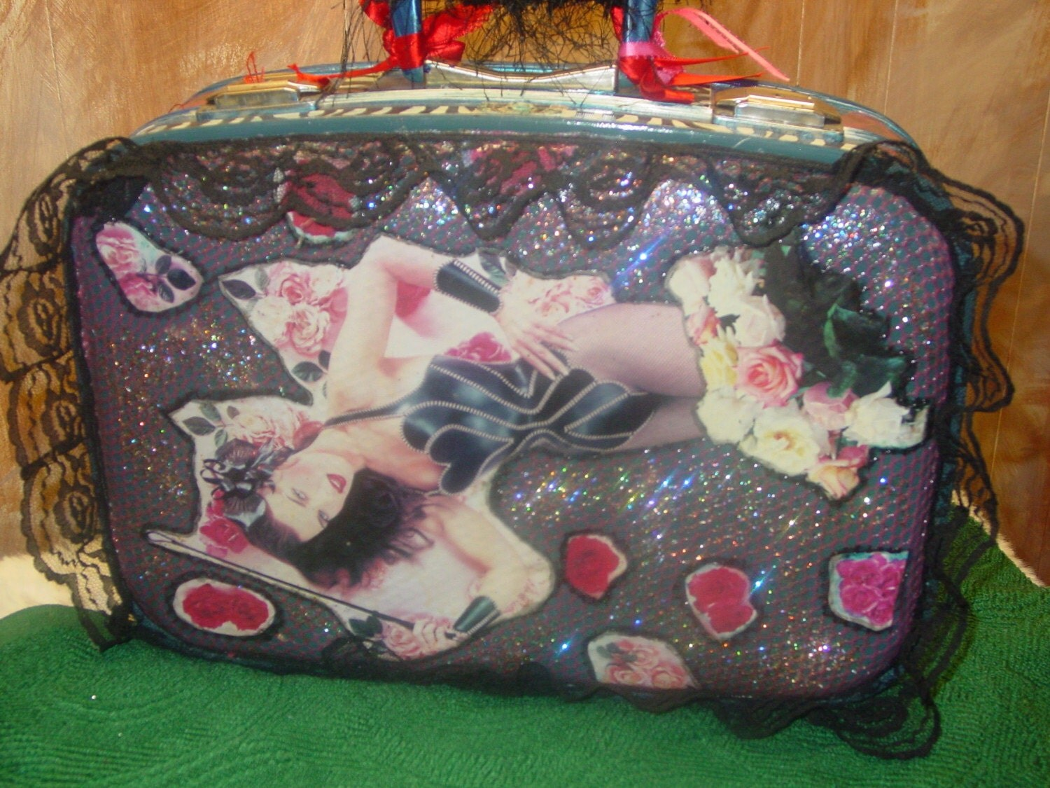 Funky recyled Sexy Suitcase by  artist Catherine Reinke