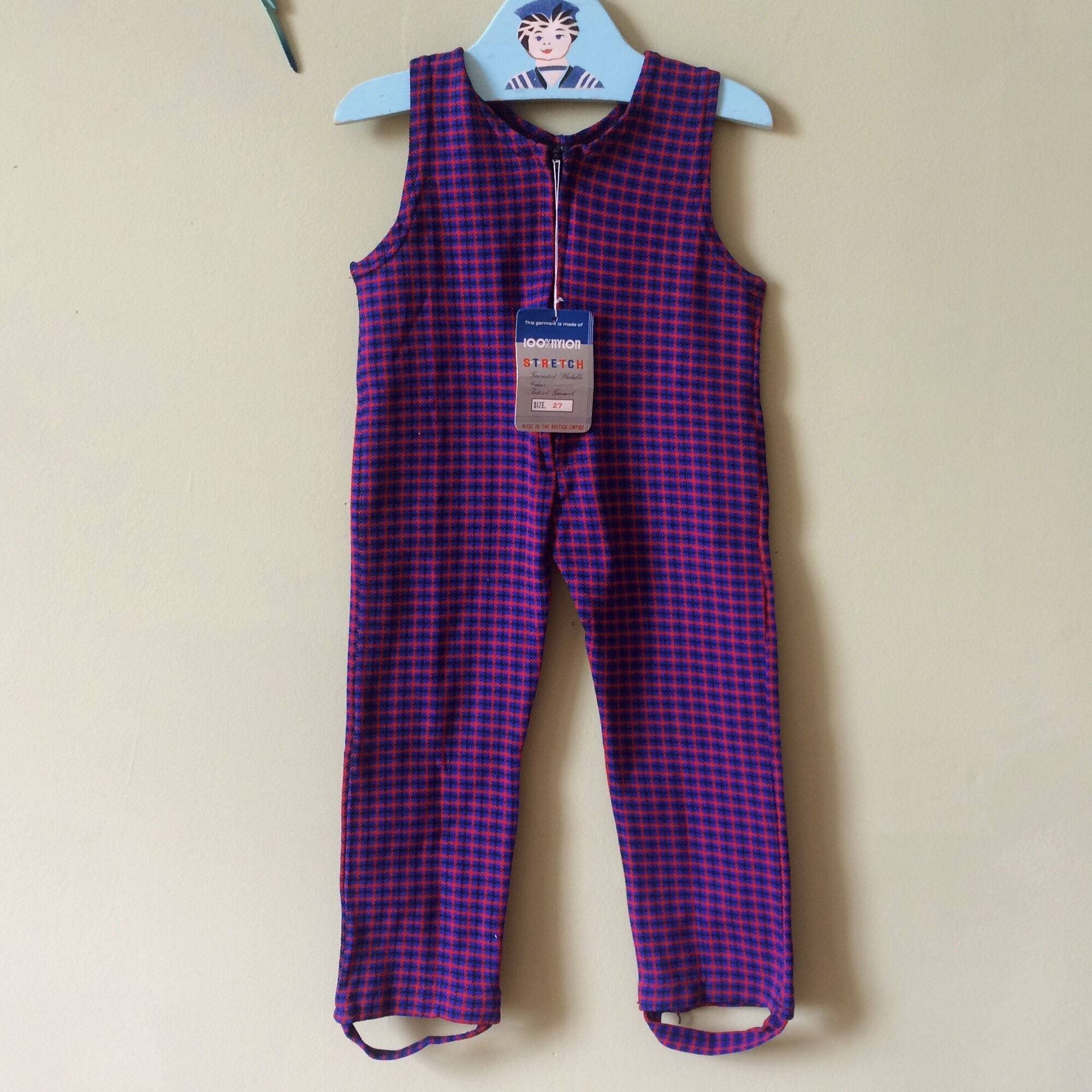 Vintage baby romper  jumpsuit  dungarees. Blue and red check. Zip front. Toddler. Boy or girl. 1970s Approx age 18 months  age 24 months