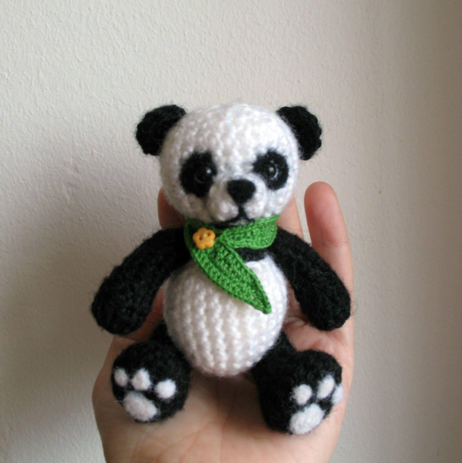 Вязание игрушки панды крючком 14