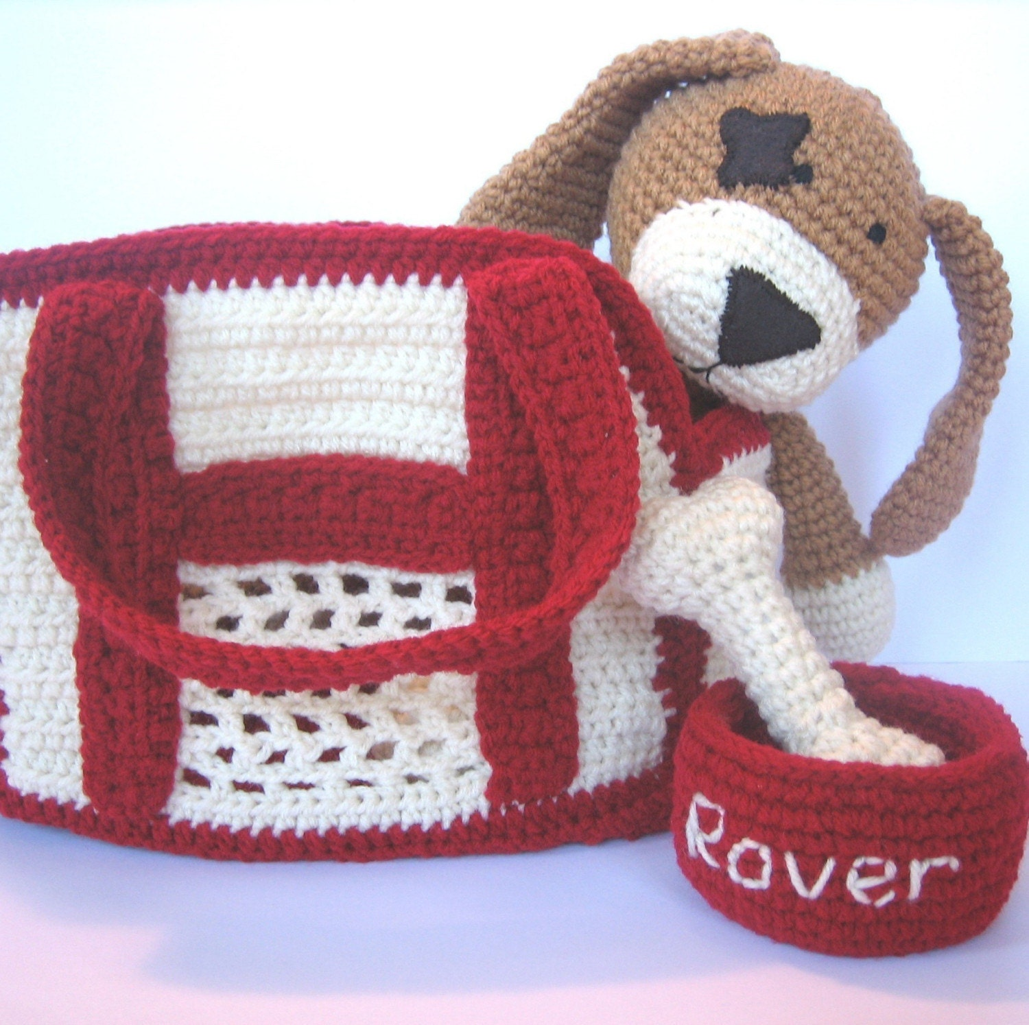 Free Crochet Pattern Dog Carrier : Crochet Pattern Pet Dog with carrier water by ...