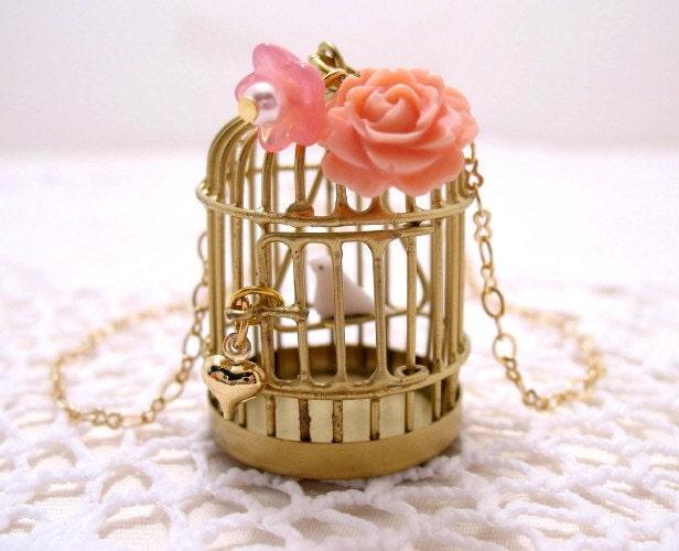 Golden Birdcage With White Bird Necklace