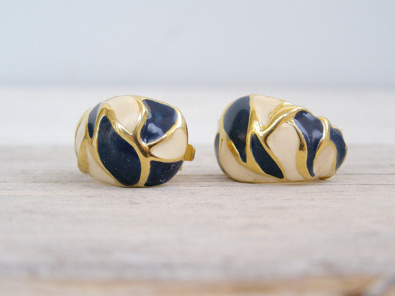 Mid century golden clip Earrings, blue and beige enamel earrings, mad men style jewelry, Mod jewelry, Christmas gift