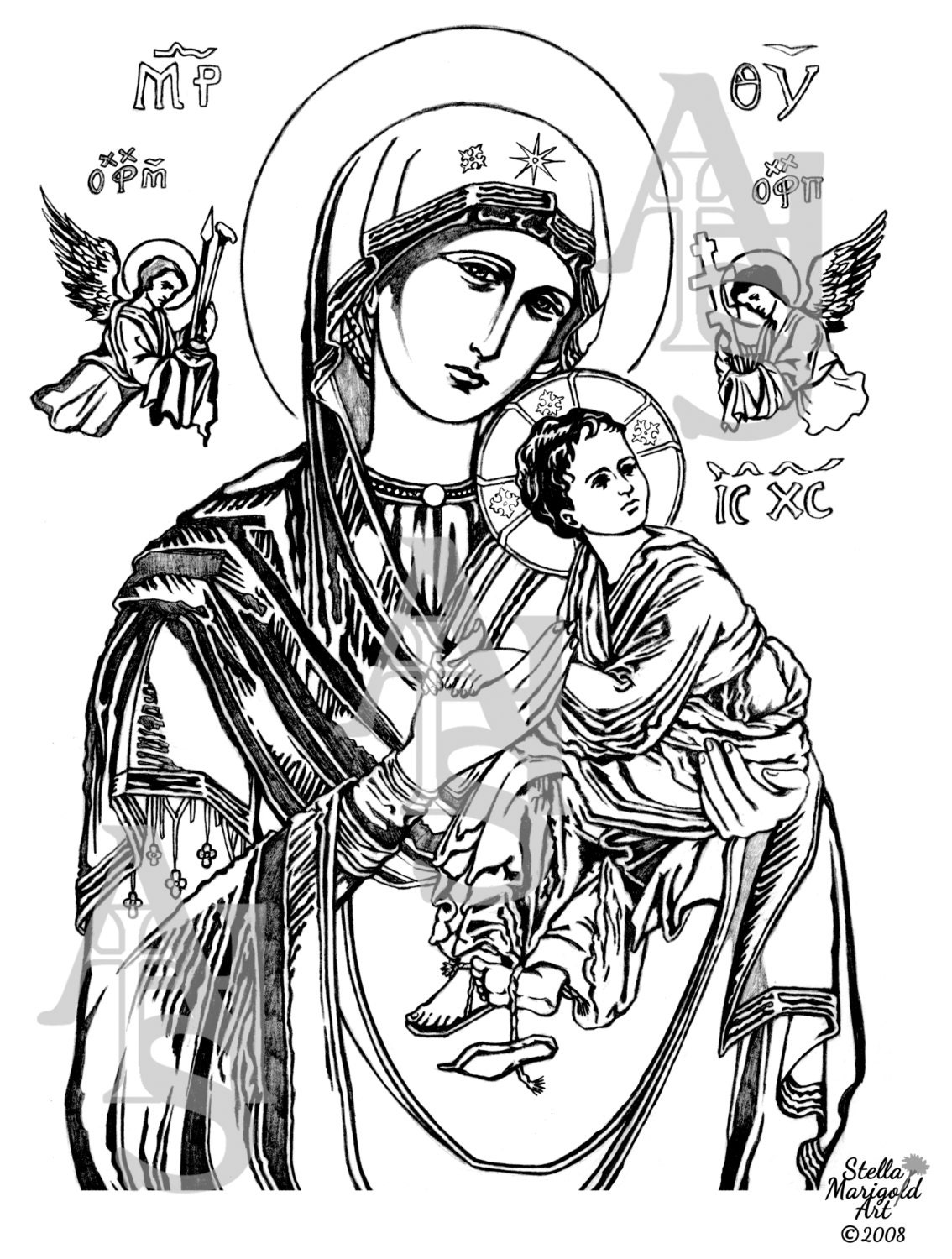 Coloring Page: Our Lady of Perpetual Help by StellaMarigoldArt