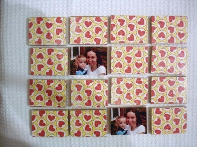 Personalized Matching Game Using Your Own Pictures-Set of 16 Tiles