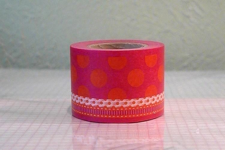 Pretty BOLD Circle Polka Dot Japanese Washi Tape - Pink Orange Single 38mm NEW