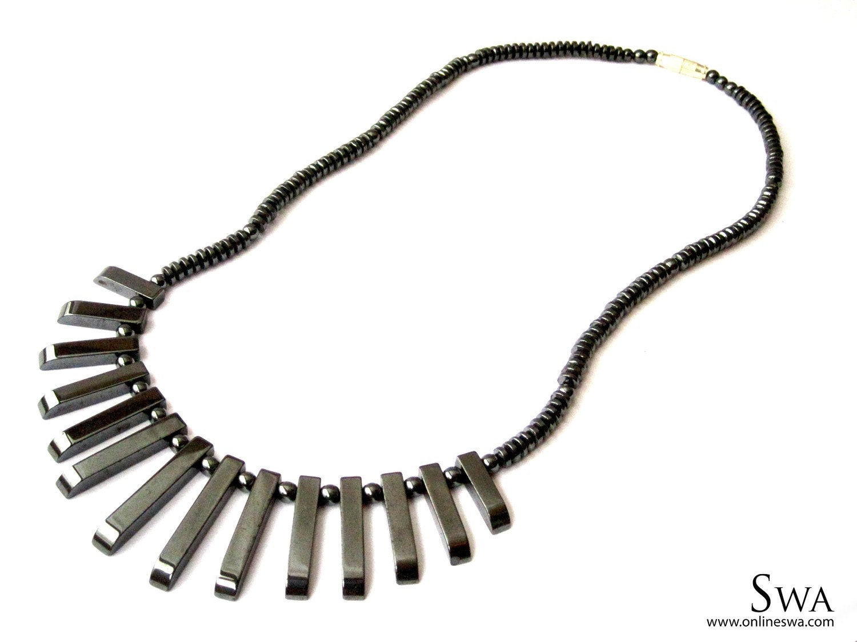 Gun metal rods necklace