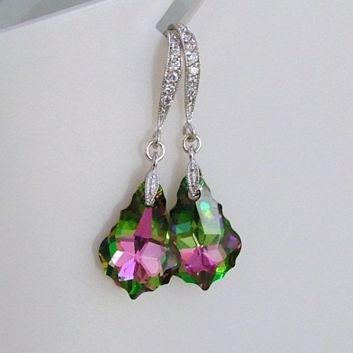 Swarovski Crystal Electra Fuschia, Green, Purple Silver Bride, Bridal, Bridesmaid, Wedding Earrings - LillieJJewellery