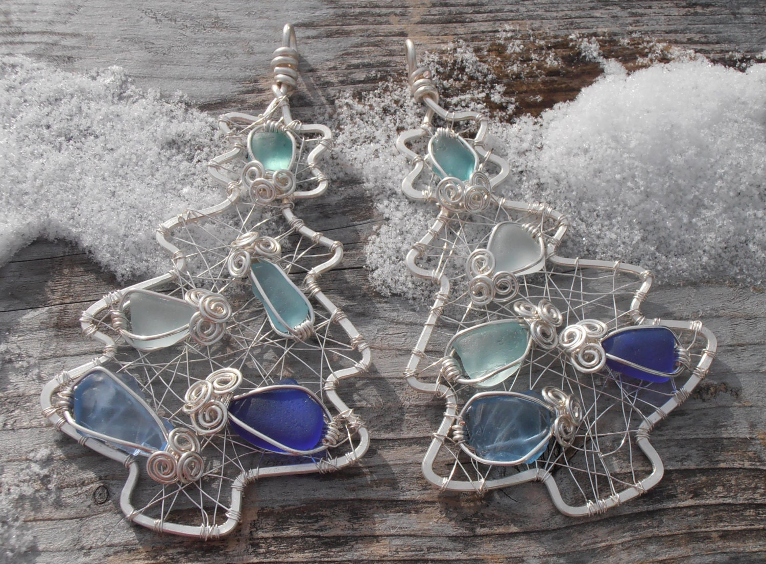 Christmas Tree Ornament Wire And Sea Glass By