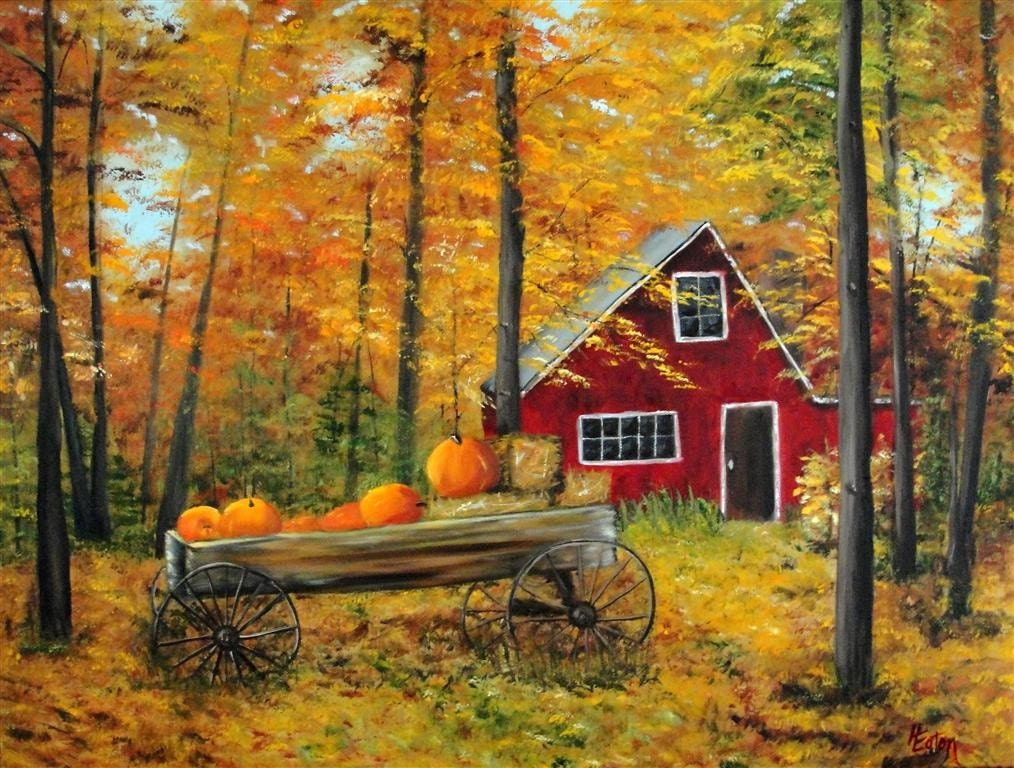 Cottage in the Fall Forests - Original Oil Painting on 18x24 Wrapped Canvas