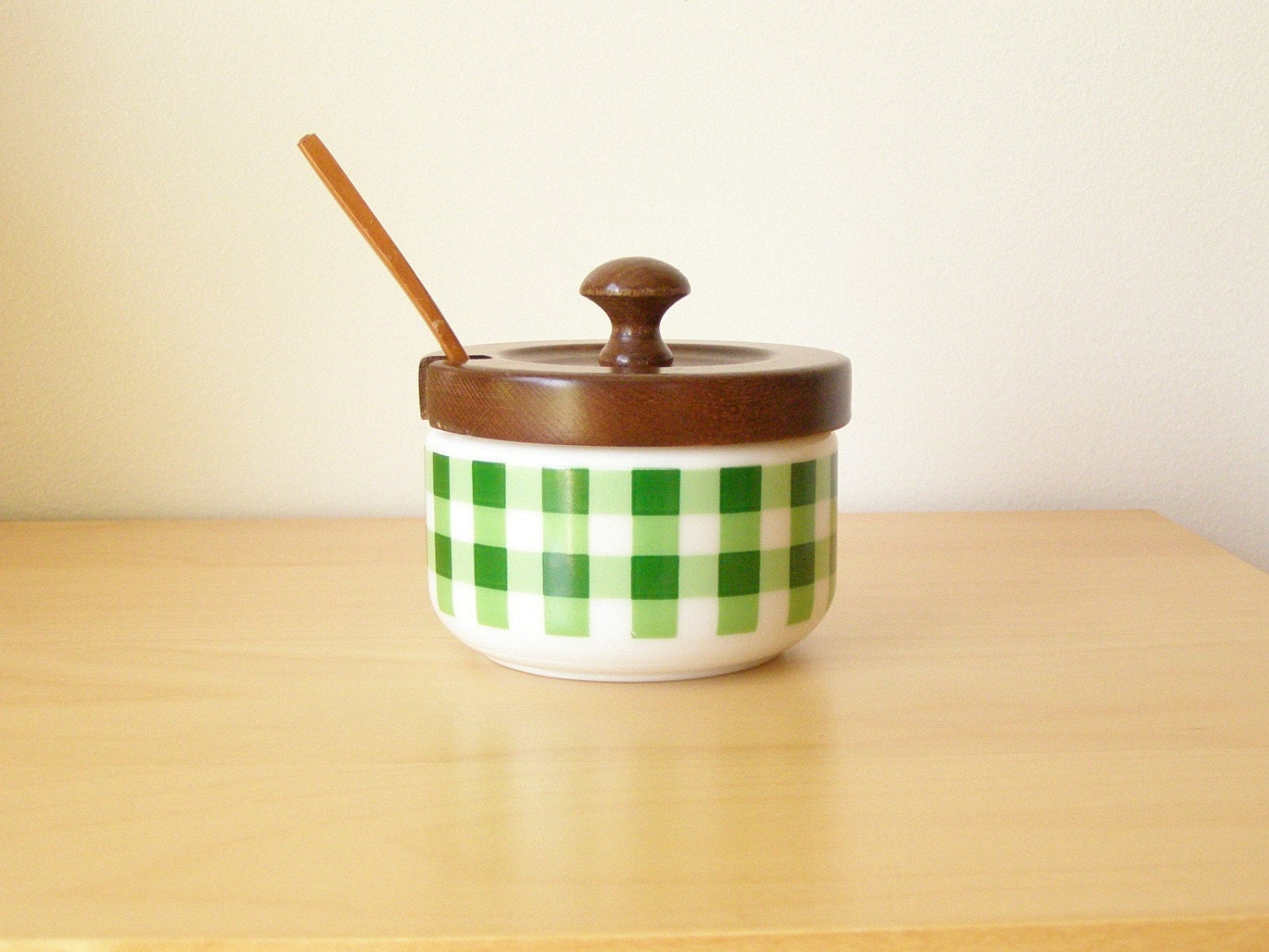 Green Gingham Condiment Bowl with Spoon