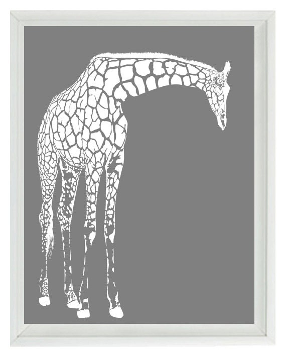 giraffe nursery wall art prints white gray by rizzleandrugee. Black Bedroom Furniture Sets. Home Design Ideas
