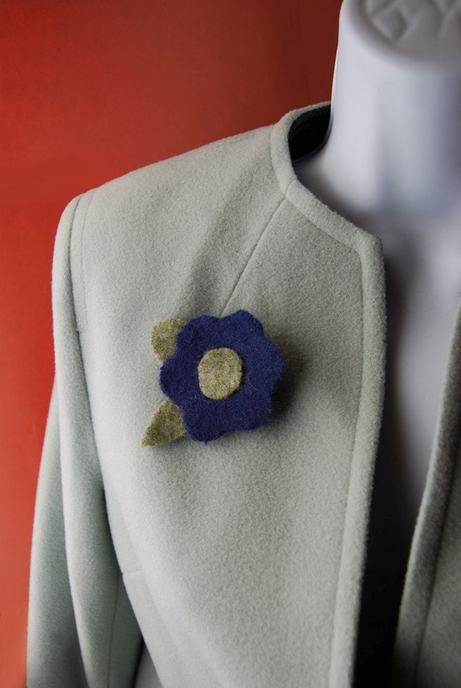 Blue Handmade Felted Flower ART BROOCH  Made From Recycled Sweaters - Go Green Series
