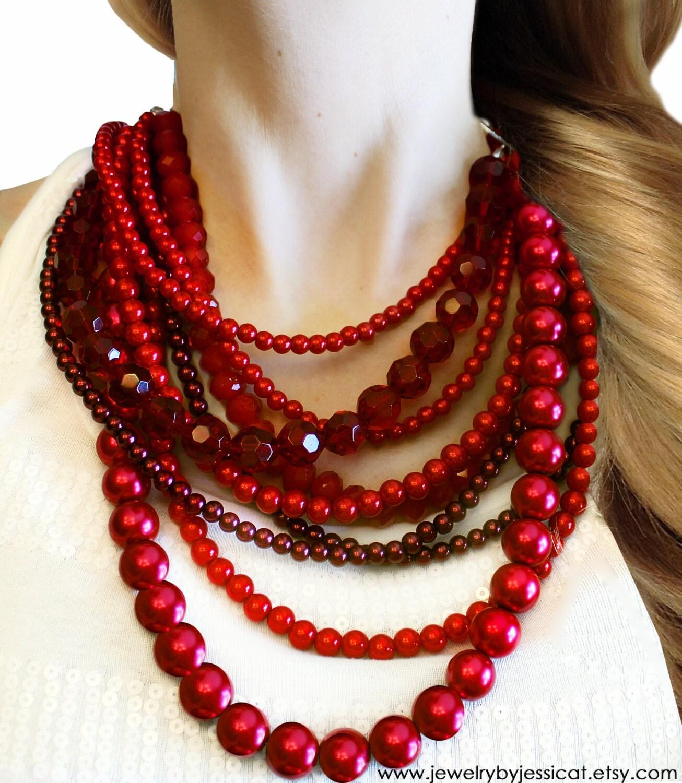 classic statement necklace burgundy by jewelrybyjessicat