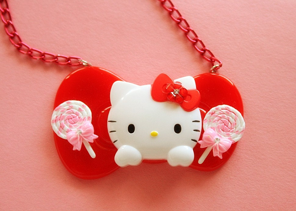 Peek a Boo huge Hello Kitty bow necklace