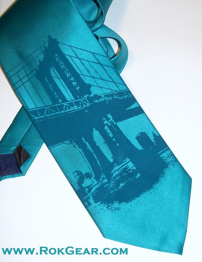 Necktie Manhattan Bridge New York RokGear Hand Print Silk Screen
