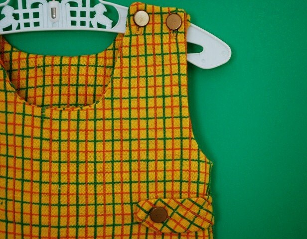 Vintage 1970s Mustard Yellow Plaid Jumper- Size 0-3 Months - SweetShopVintage