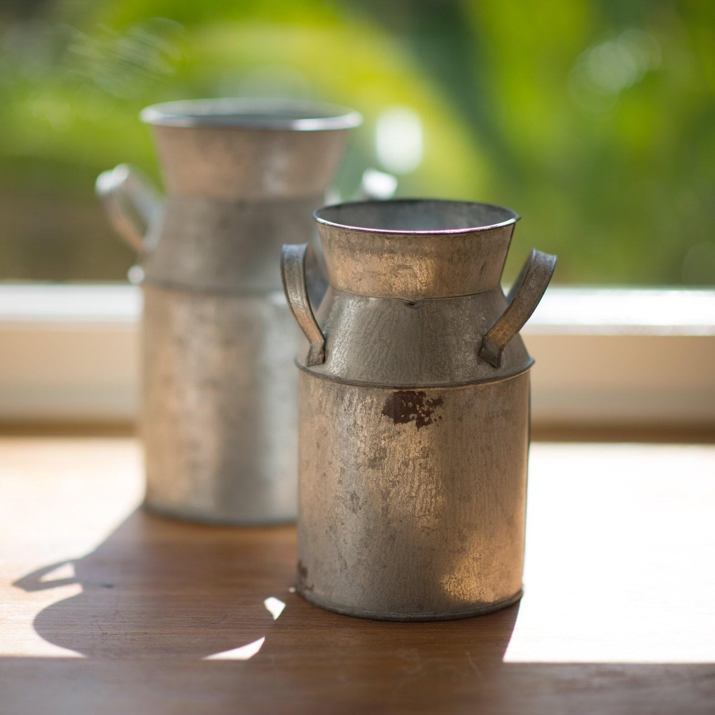 Vintage Style Zinc Milk Churn HandSealed  Watertight Flower Vase  Fresh Flower Vase To Hold Water