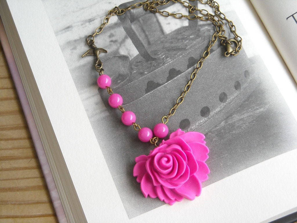 Pink Rose Cabochon and Antiqued Brass Necklace