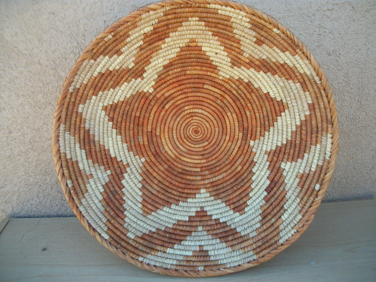 "Basket Rust & Burnt Orange Natural Fiber Star Pattern Hand Woven Grass Coil Extra Large 16 1/2"" x 5 1/2"" - South American"