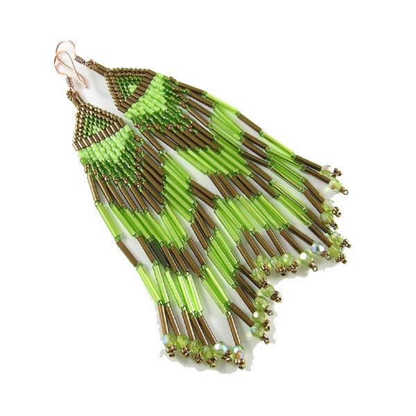 Long ethnic style seed bead earrings - bronze green fringe earrings - Native American inspired - Taurielscraft