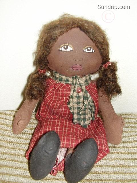 African American rag doll primitive handmade red dress dimples