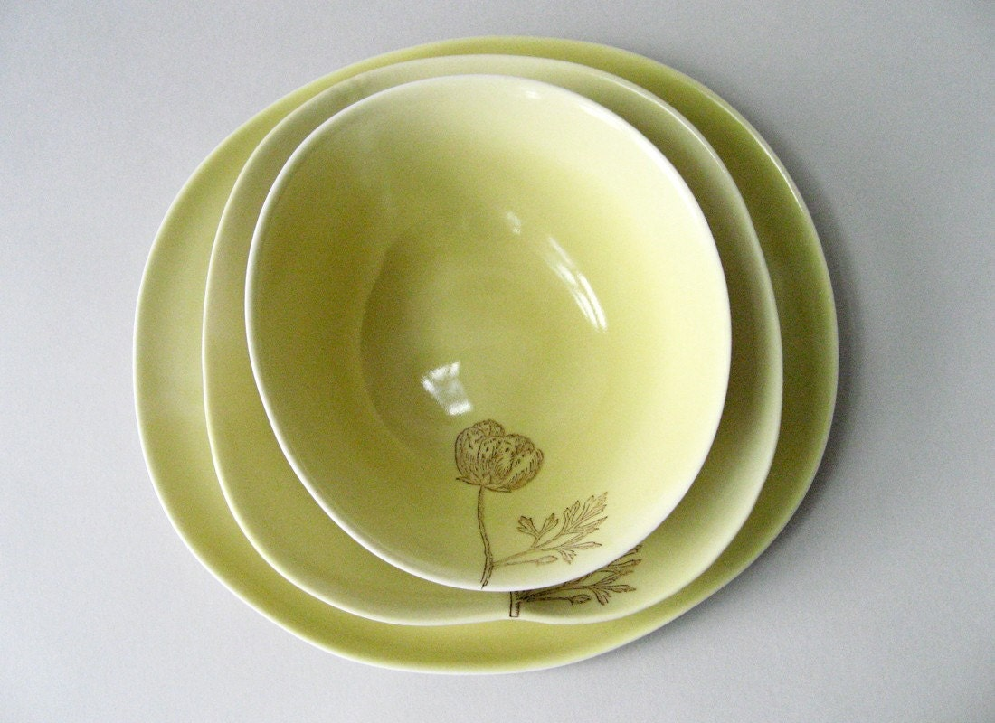 organic serving set, two bowls, one platter