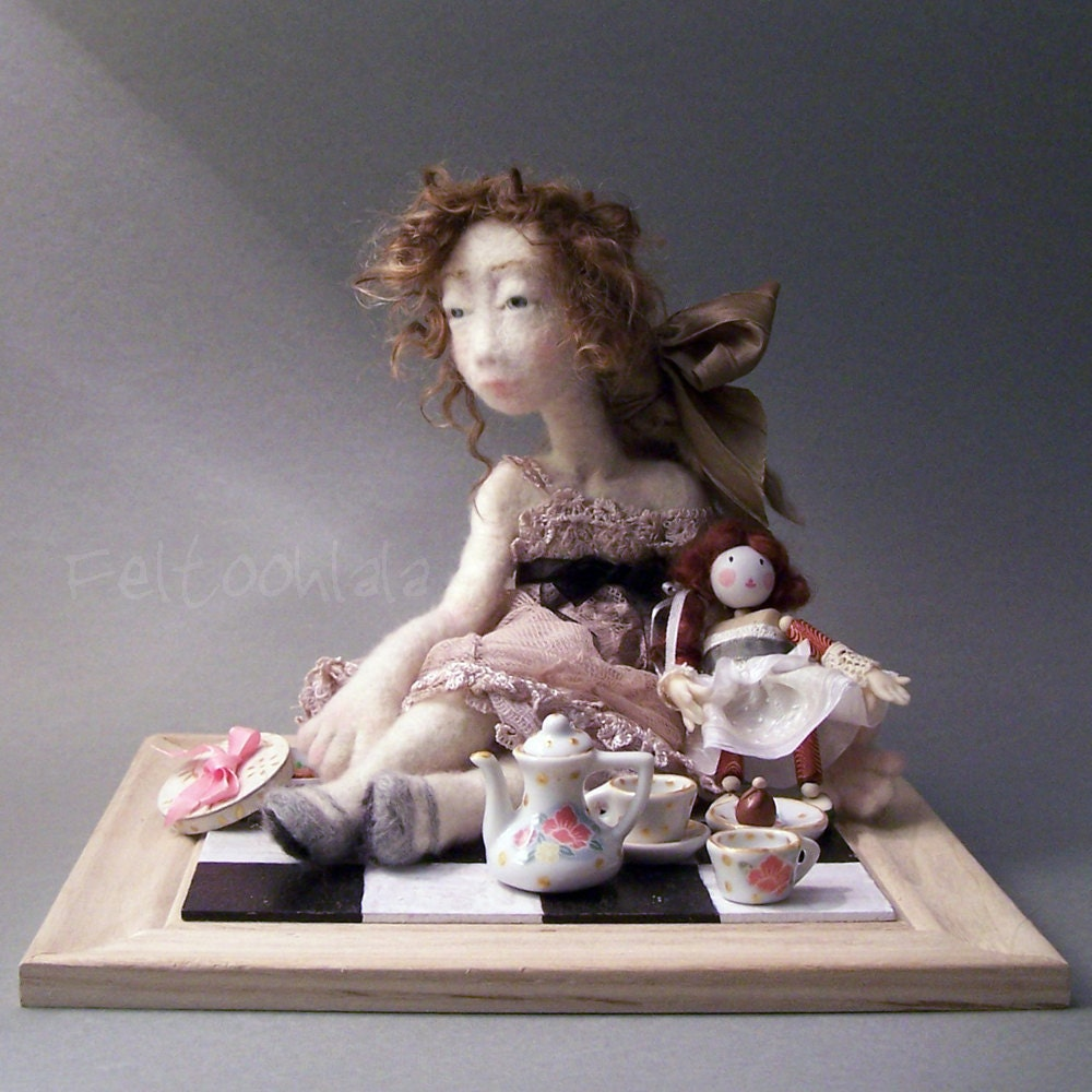 ROSE, a needle felted art doll.