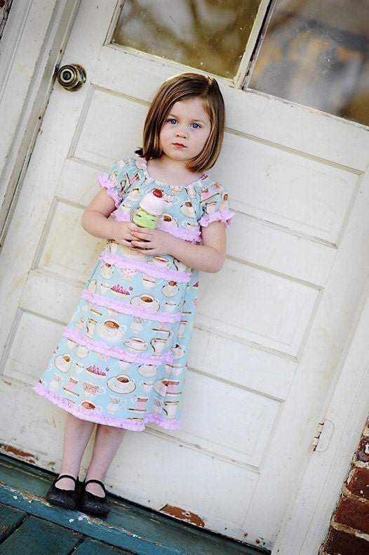 Tea Party... Babydoll Dress Custom Size 6m 12m 18m 2t 3t 4t 5 theBetties