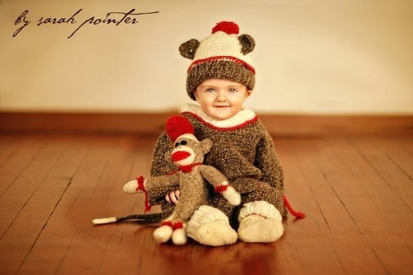 Brown Marl Wool Sock Monkey Suit Size 18-24 months