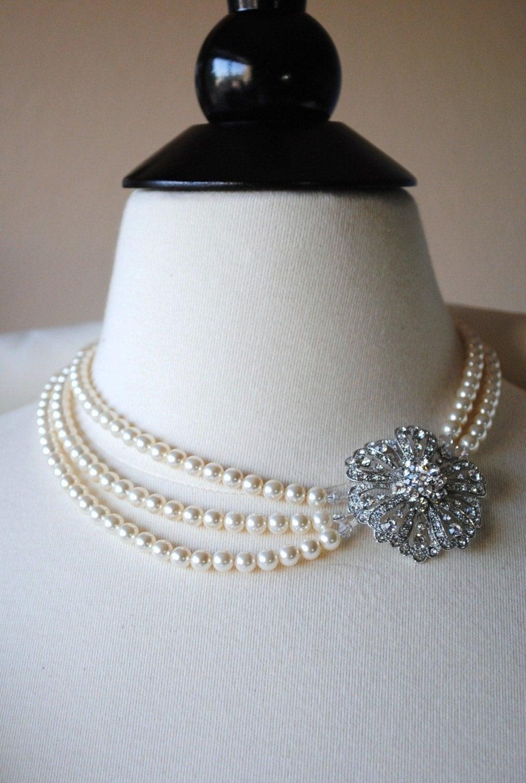 Lyla Bridal Brooch Necklace - Rhinestone Flower Brooch, Swarovski Ivory Pearls, Multiple Strands, N257B10